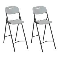 vidaXL Składane krzesła barowe, 2 szt., HDPE i stal, białe