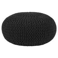 LABEL51 Puf wydziergany z bawełny, L, czarny
