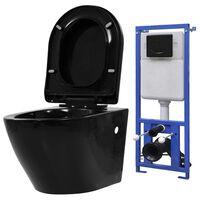 vidaXL Podwieszana toaleta ceramiczna ze spłuczką podtynkową, czarna