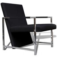 vidaXL Fotel z chromowanymi nóżkami, czarny, sztuczna skóra