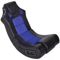 vidaXL Bujany fotel muzyczny, czarno-niebieski, sztuczna skóra