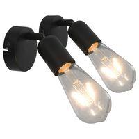 vidaXL Lampy, 2 szt., żarówki żarnikowe, 2 W, czarne, E27