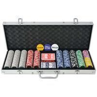 vidaXL Zestaw do gry w pokera 500 żetonów laserowych, aluminium