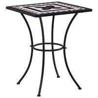vidaXL Mozaikowy stolik bistro, czarno-biały, 60 cm, ceramiczny