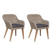 vidaXL Krzesła ogrodowe z poduszkami, 2 szt., polirattan, brązowe