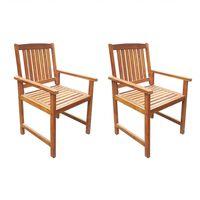 vidaXL Krzesła ogrodowe, 2 szt., lite drewno akacjowe, brązowe