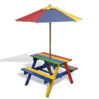 vidaXL Stół dla dzieci z ławkami i parasolem, wielokolorowy, drewniany