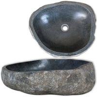 vidaXL Umywalka z kamienia rzecznego, owalna, 30-37 cm