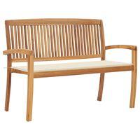 vidaXL Sztaplowana ławka ogrodowa z poduszką, 128,5 cm, drewno tekowe