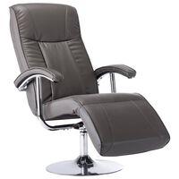 vidaXL Fotel telewizyjny, szary, sztuczna skóra