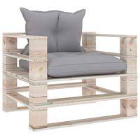 vidaXL Sofa ogrodowa z palet, z szarymi poduszkami, drewno sosnowe