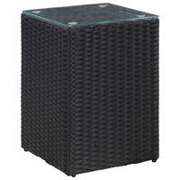 vidaXL Stolik ze szklanym blatem, czarny, 35x35x52 cm, polirattan