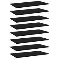 vidaXL Półki na książki, 8 szt., czarne, 60x30x1,5 cm, płyta wiórowa