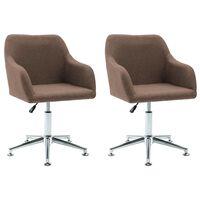 vidaXL Obrotowe krzesła do jadalni, 2 szt., brązowe, tkanina