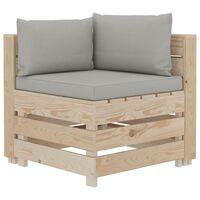 vidaXL Ogrodowa sofa narożna z palet z poduszkami taupe, drewniana