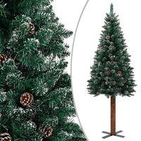 vidaXL Smukła choinka z drewnem i śniegiem, zielona, 210 cm