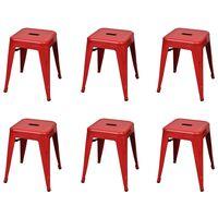 vidaXL Stołki sztaplowane, 6 szt., czerwone, stalowe