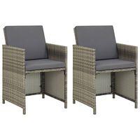 vidaXL Krzesła ogrodowe z poduszkami, 2 szt., polirattan, szare