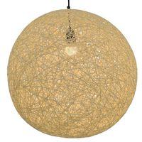 vidaXL Lampa wisząca, kremowa, kula, 55 cm, E27