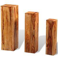 vidaXL Stojak na kwiaty, 3 elementy, lite drewno sheesham, brązowy