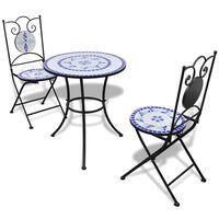 vidaXL 3-cz. zestaw mebli bistro z mozaiką niebiesko-białą
