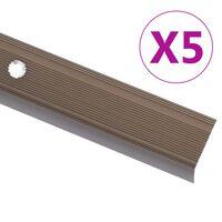 vidaXL Profile schodowe, kształt L, 5 szt., aluminium, 100 cm, brązowe