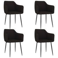 vidaXL Krzesła stołowe, 4 szt., czarne, tapicerowane tkaniną
