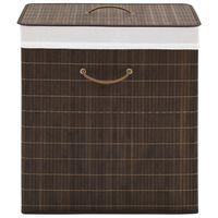 vidaXL Bambusowy kosz na pranie prostokątny, ciemnobrązowy kolor