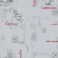 vidaXL Fizelinowa tapeta, 2 rolki, biała, 0,53 x 10 m, motyw kawy