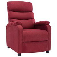 vidaXL Rozkładany fotel, winna czerwień, tapicerowany tkaniną
