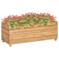 vidaXL Podwyższona donica 100x40x38 cm drewno tekowe z odzysku i stal