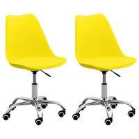 vidaXL Krzesła biurowe, 2 szt., żółte, sztuczna skóra