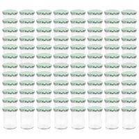 vidaXL Szklane słoiki na dżem, biało-zielone pokrywki, 96 szt., 400 ml