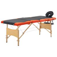 vidaXL Składany stół do masażu, 4 strefy, drewno, czarno-pomarańczowy