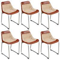 vidaXL Krzesła stołowe, 6 szt., brązowo-beżowe, skóra i płótno