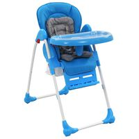 vidaXL Krzesełko do karmienia dzieci, niebiesko-szare