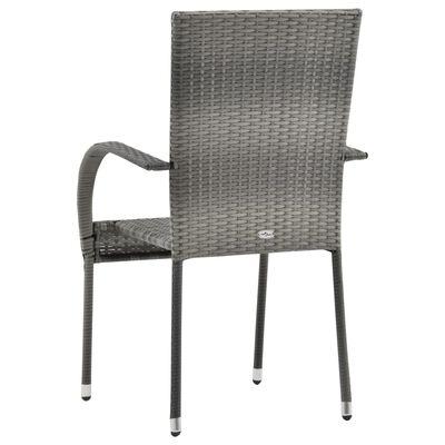 vidaXL Sztaplowane krzesła ogrodowe, 2 szt., szare, polirattan