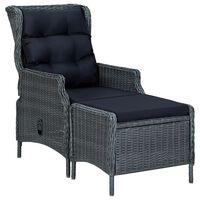 vidaXL Rozkładane krzesło ogrodowe, podnóżek, polirattan, ciemnoszare