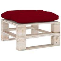 vidaXL Ogrodowy stołek z palet z bordową poduszką, drewno sosnowe