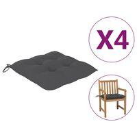 vidaXL Poduszki na krzesła, 4 szt., antracyt, 50x50x7 cm, tkanina