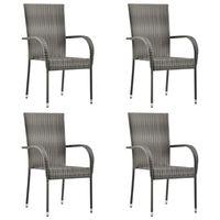 vidaXL Sztaplowane krzesła ogrodowe, 4 szt., szare, polirattan