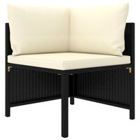vidaXL 4-osobowa sofa ogrodowa z poduszkami, polirattan, czarna