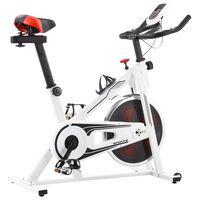 vidaXL Rower spinningowy do ćwiczeń, z pomiarem pulsu, biało-czerwony