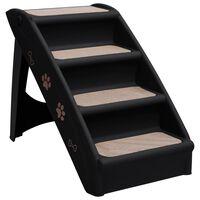 vidaXL Składane schodki dla psa, czarne, 62 x 40 x 49,5 cm