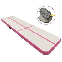 vidaXL Mata gimnastyczna z pompką, 600x100x15 cm, PVC, różowa