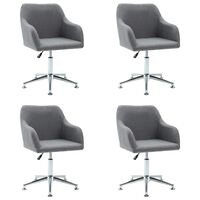 vidaXL Obrotowe krzesła do jadalni, 4 szt., jasnoszare, tkanina