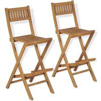 vidaXL Składane krzesła barowe, 2 szt., lite drewno tekowe