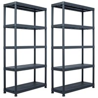 vidaXL Regały magazynowe, 2 szt., czarne, 250 kg, 80x40x180 cm