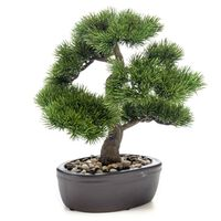 Emerald Sztuczna sosna bonsai w brązowej donicy, 32 cm