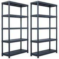 vidaXL Regały magazynowe, 2 szt., czarne, 500 kg, 100x40x180 cm